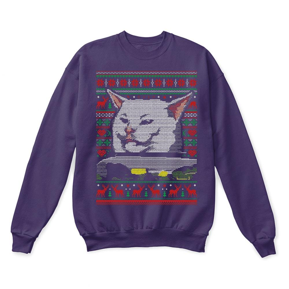 Woman Yelling At A Cat Meme Smudge the Cat Christmas Ugly Sweaters 2