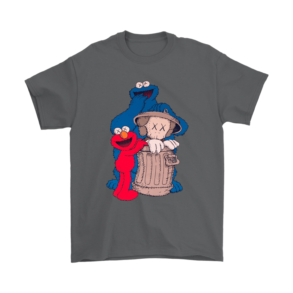 Elmo And Cookie Monster Hide KAWS In Trash Can Shirts 2