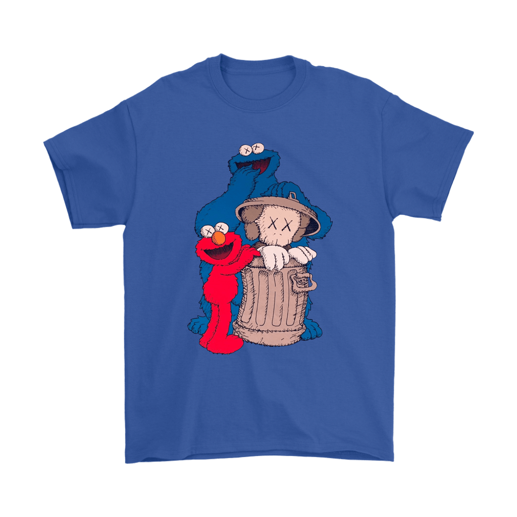 Elmo And Cookie Monster Hide KAWS In Trash Can Shirts 5