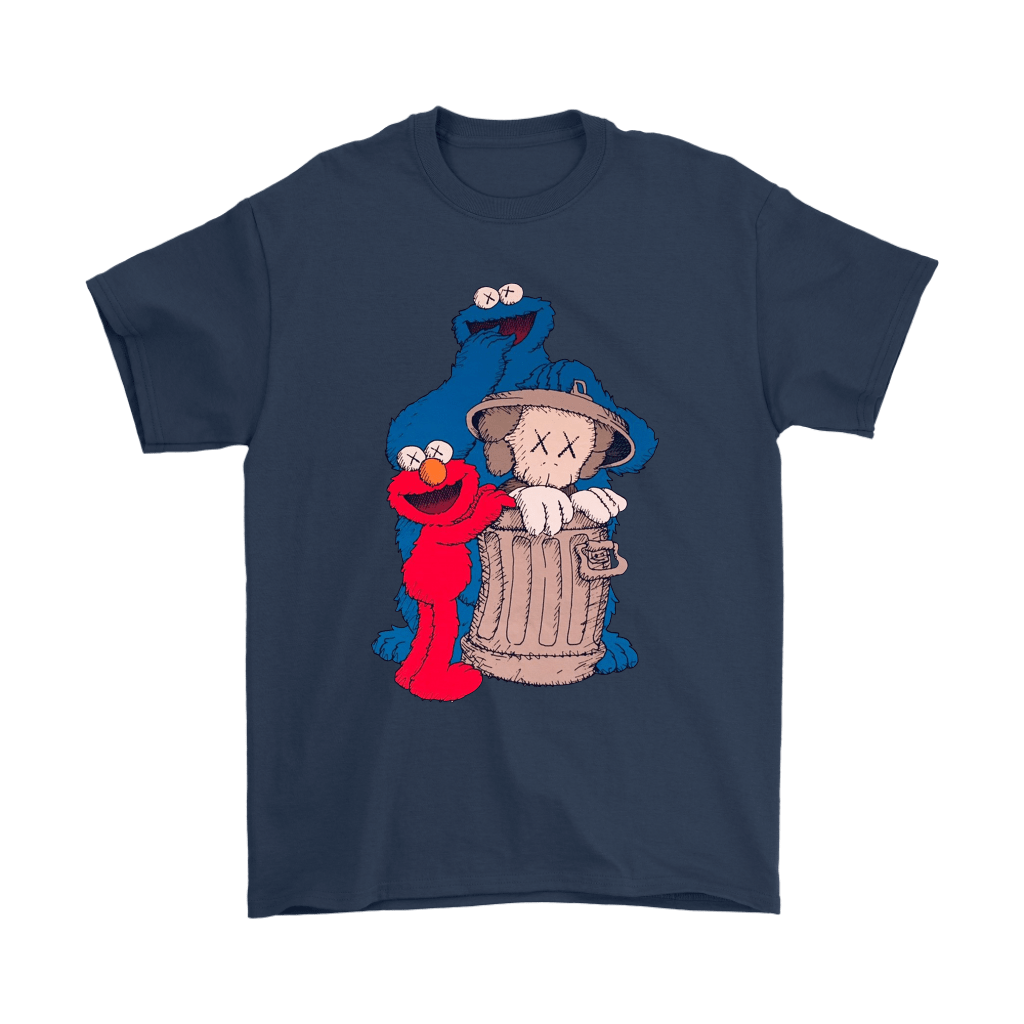 Elmo And Cookie Monster Hide KAWS In Trash Can Shirts 3