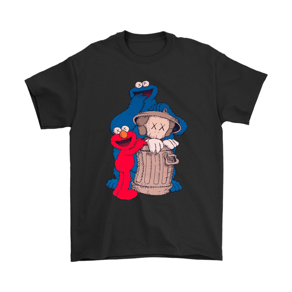 Elmo And Cookie Monster Hide KAWS In Trash Can Shirts 1