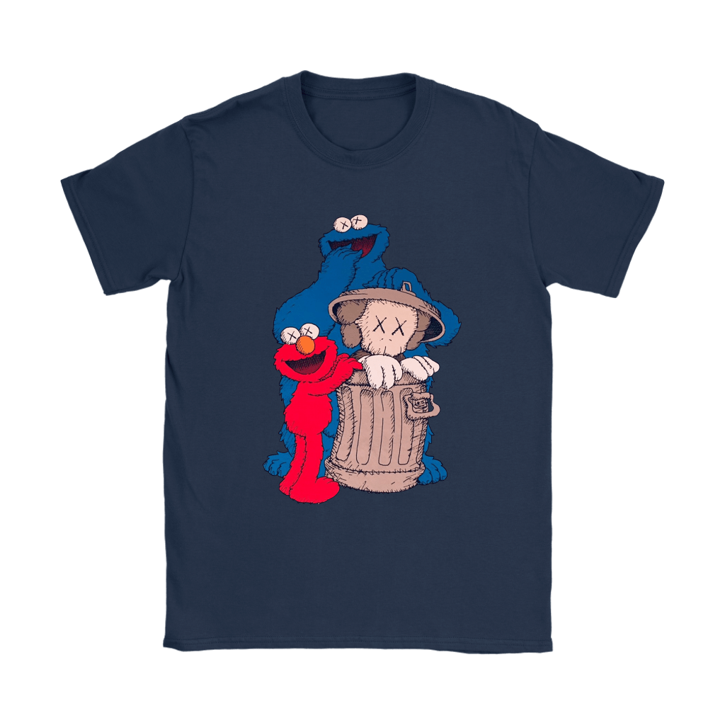 Elmo And Cookie Monster Hide KAWS In Trash Can Shirts 10