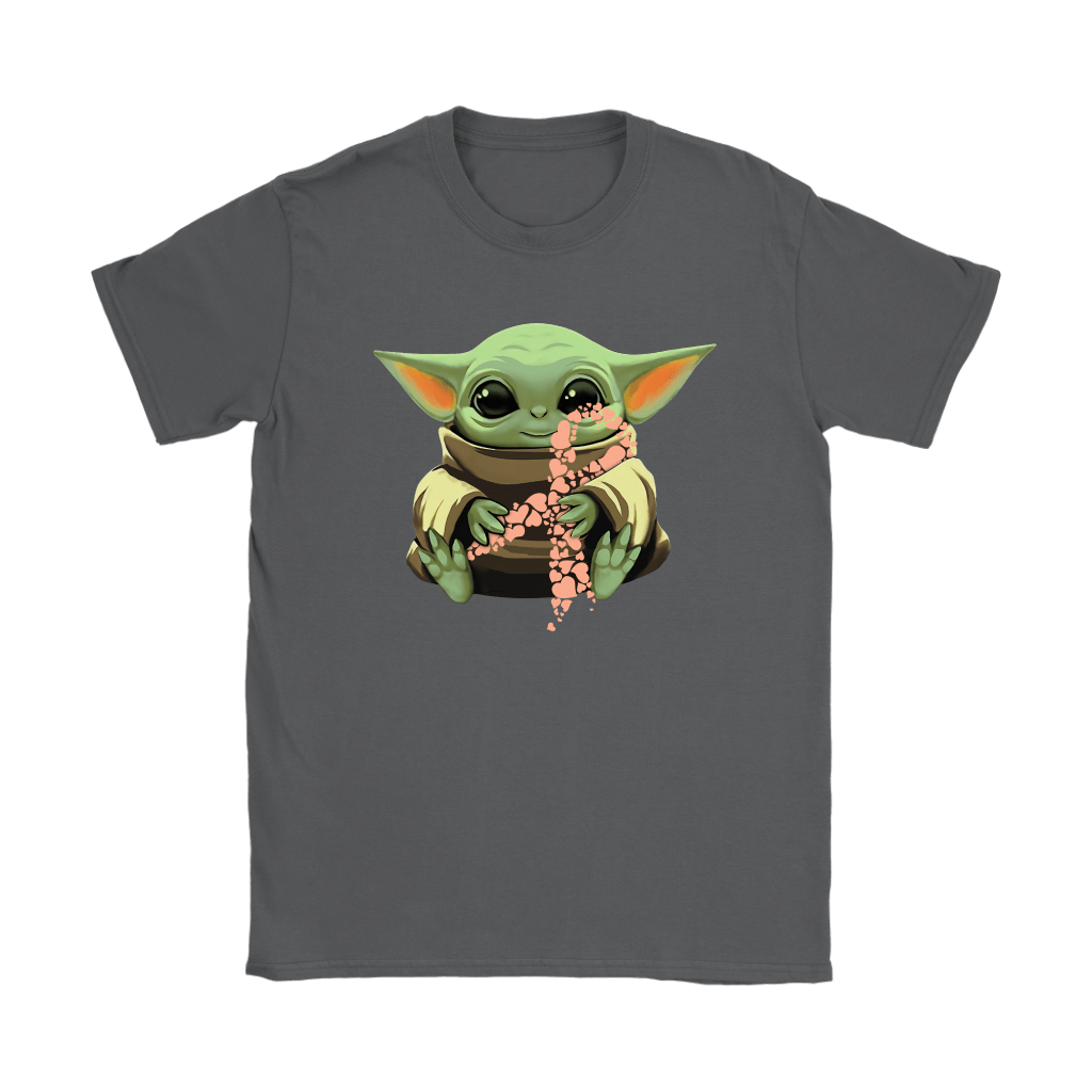 Baby Yoda Hugs Peach Ribbon Honors Uterine Cancer Awareness Shirts 9