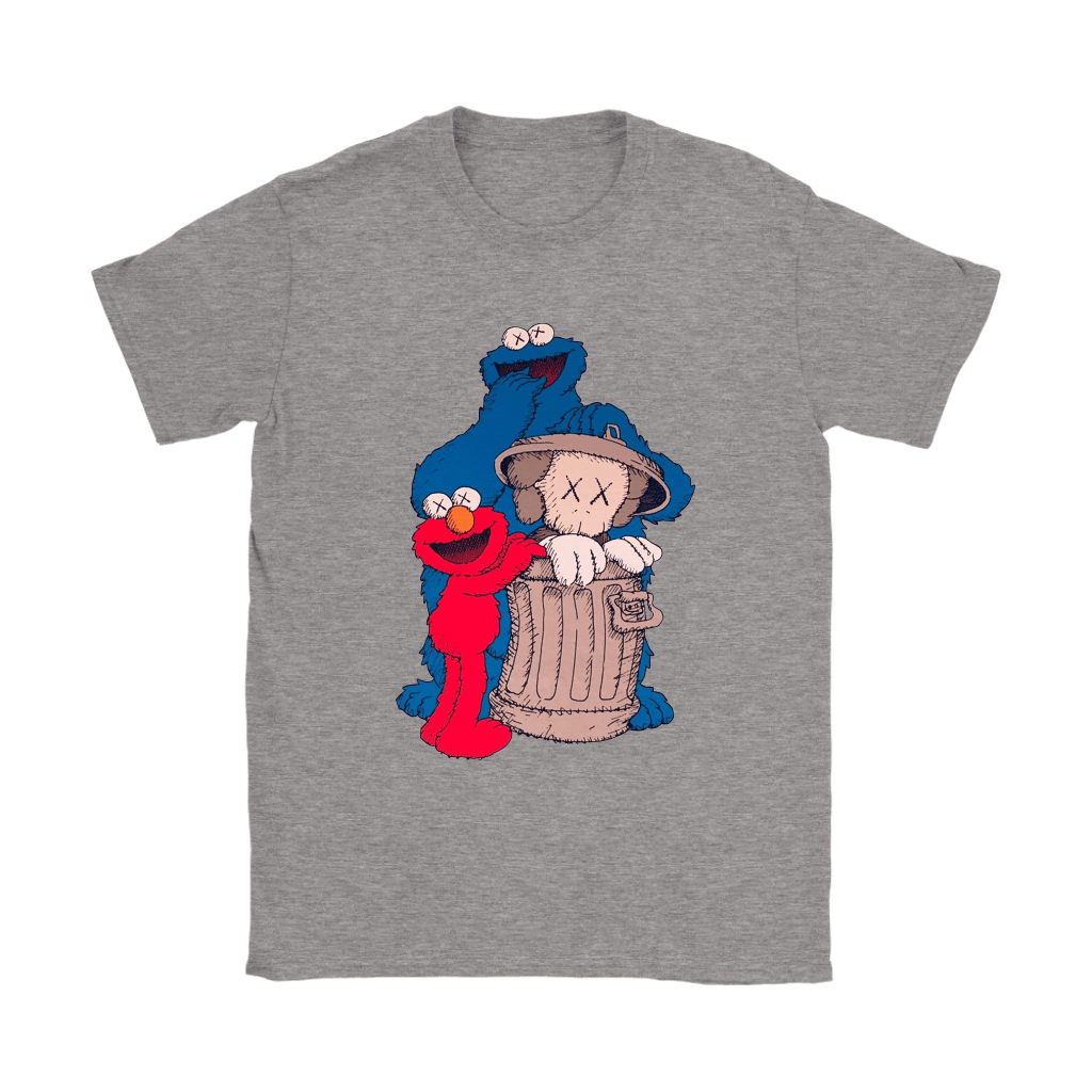 Elmo And Cookie Monster Hide KAWS In Trash Can Shirts 13