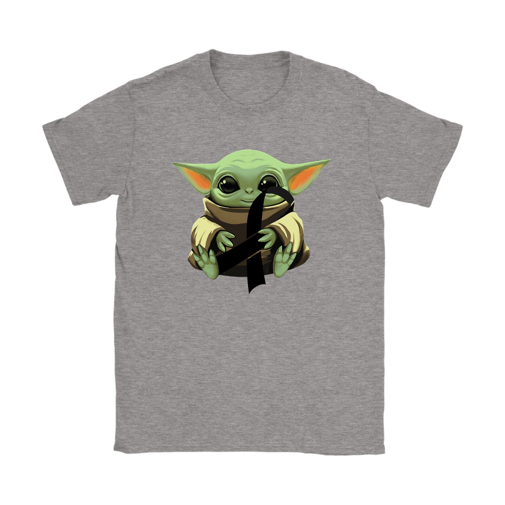 Baby Yoda Hugs Black Ribbon Honors Melanoma Awareness Shirts 12