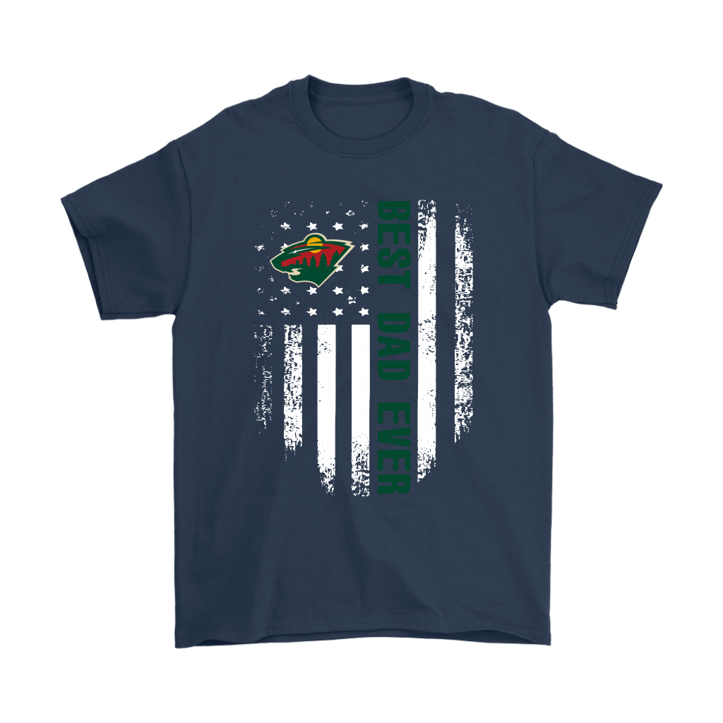 American Flag Best Dad Ever The Minnesota Wild Father Shirts 3