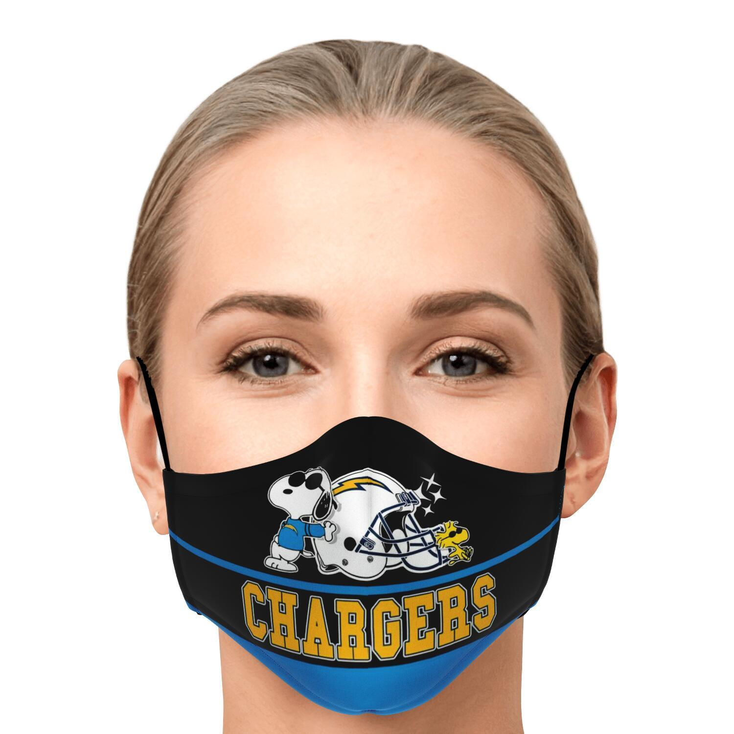 Snoopy Joe Cool Los Angeles Chargers Face Mask 1