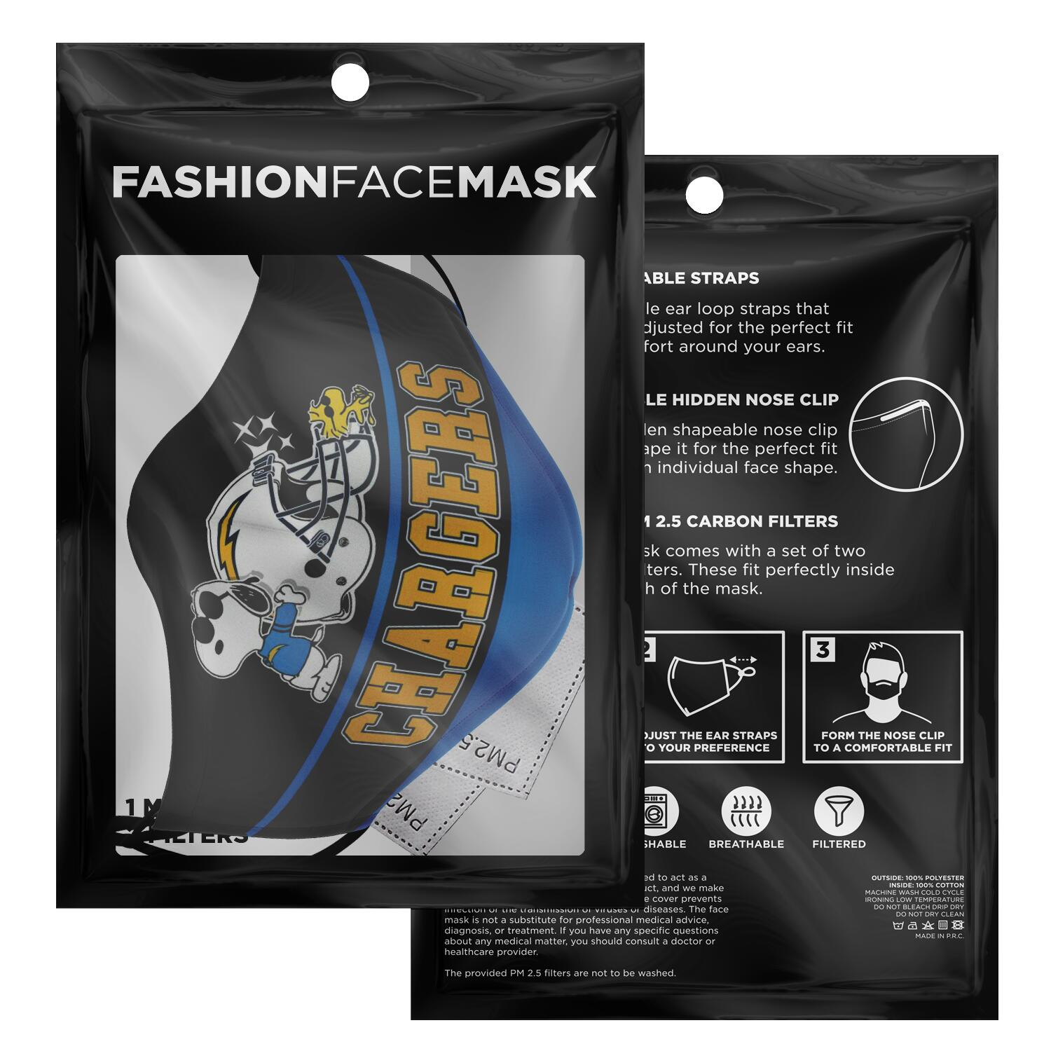 Snoopy Joe Cool Los Angeles Chargers Face Mask 2