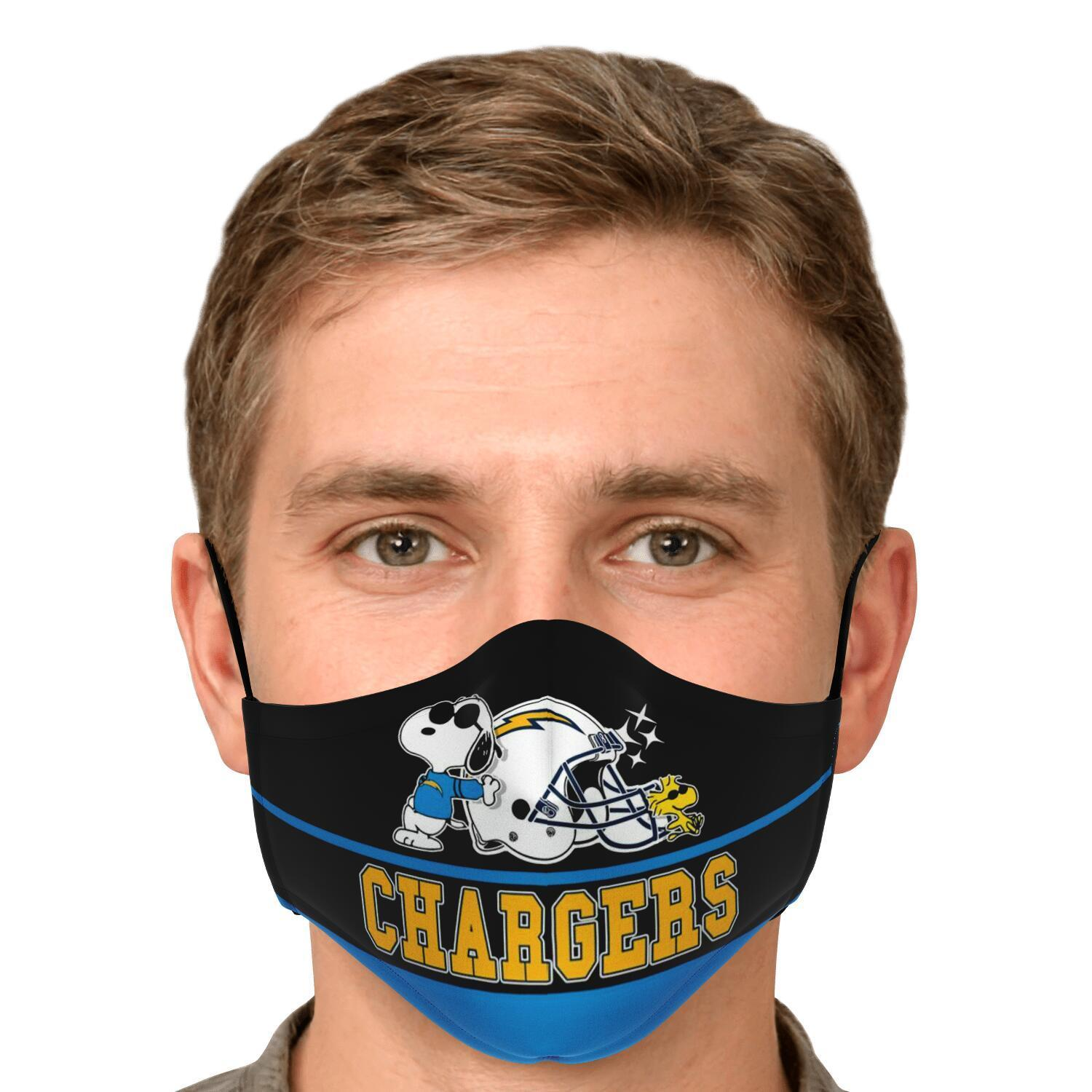 Snoopy Joe Cool Los Angeles Chargers Face Mask 4