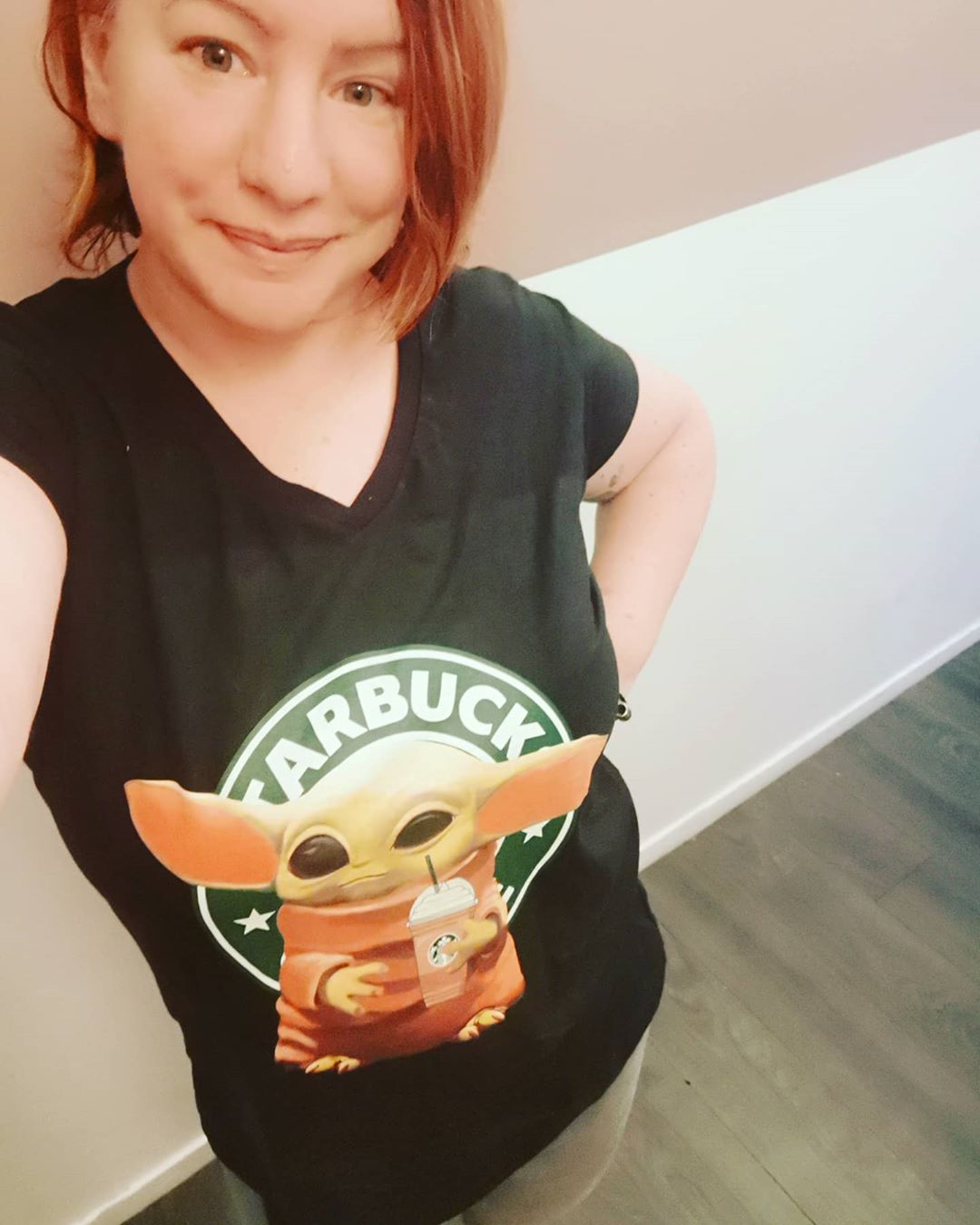 Baby Yoda Loves His Starbucks Shirts photo review
