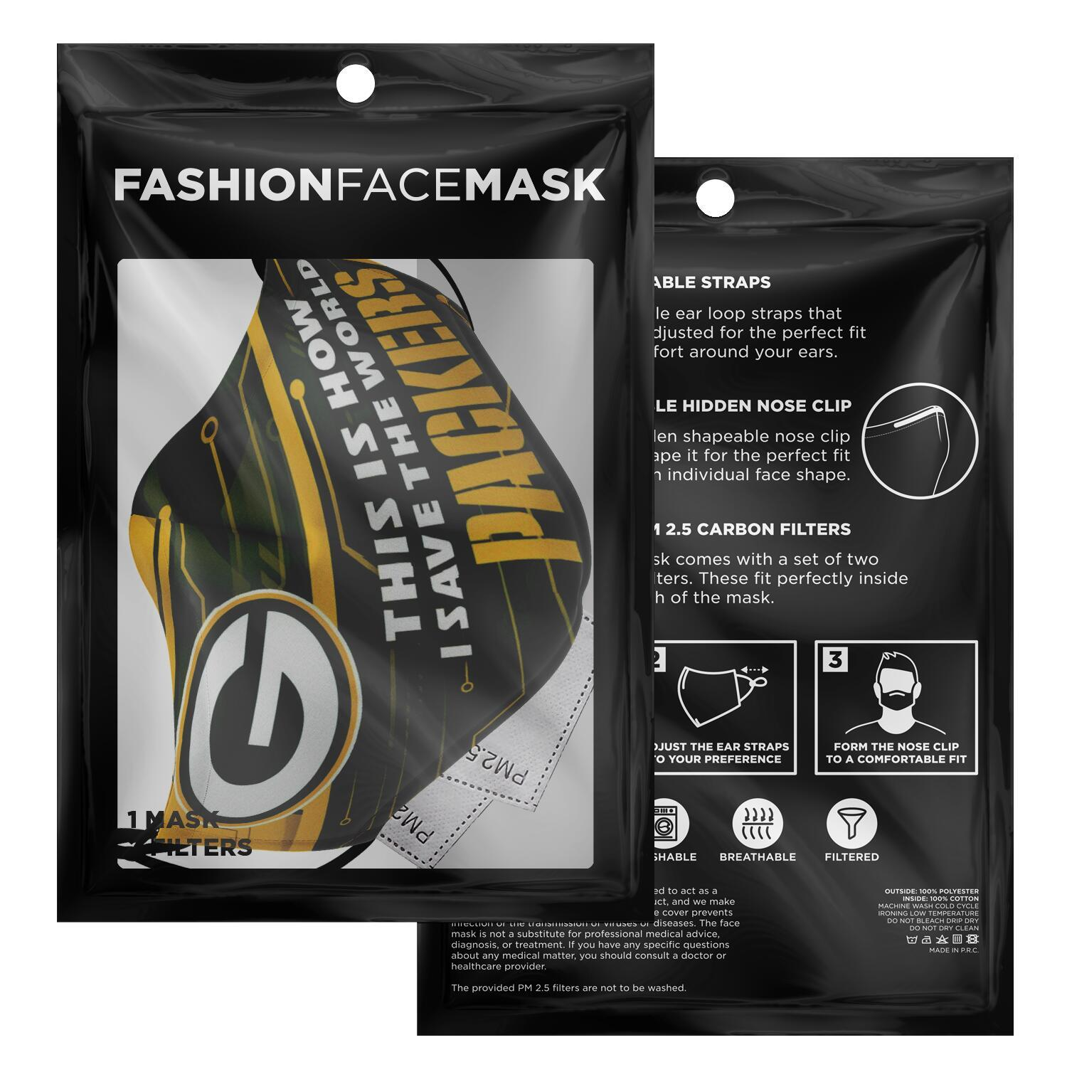 This Is How I Save The World Green Bay Packers Face Masks 3
