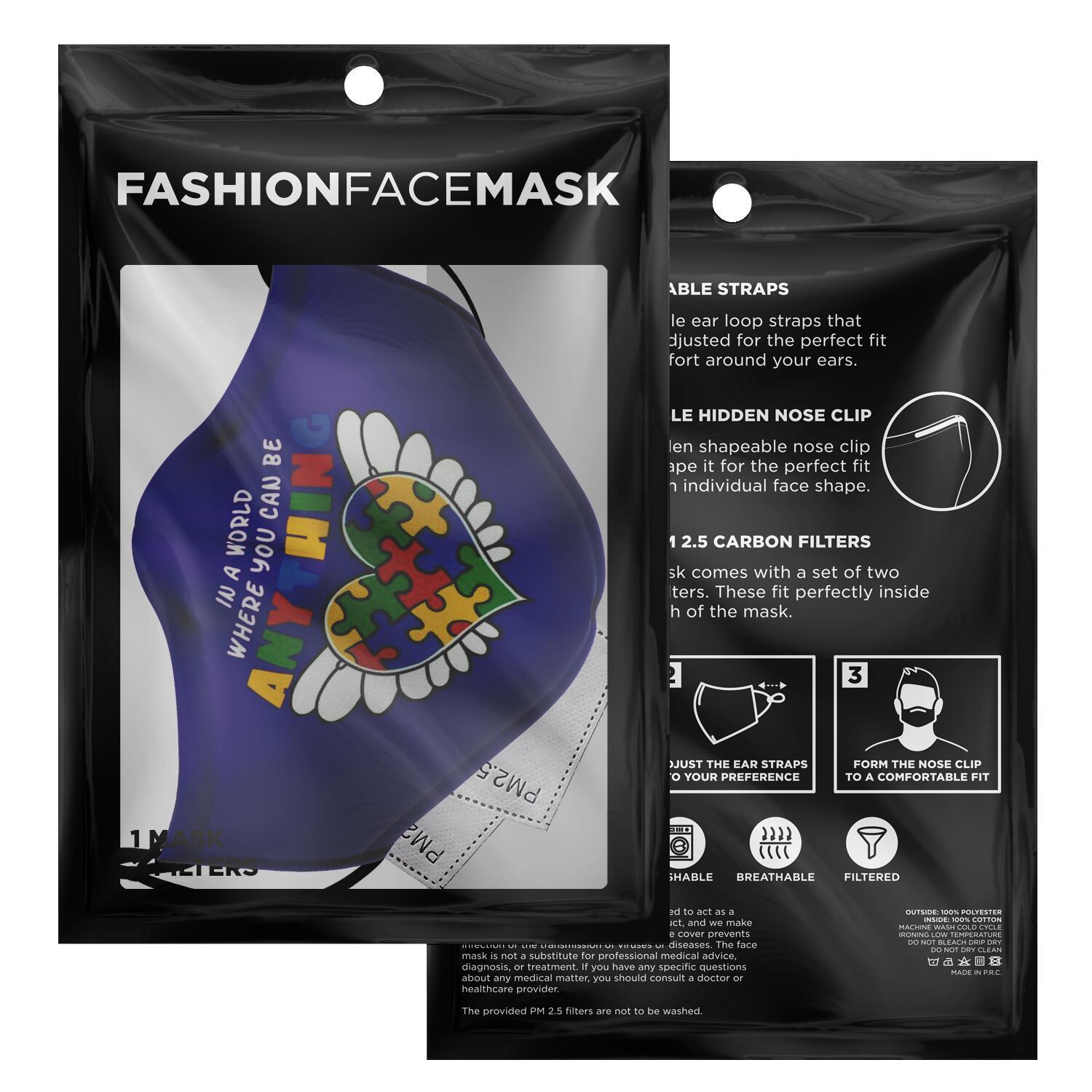 In A World Where You Can Be Anything Be Kind Autism Awareness Face Mask 2