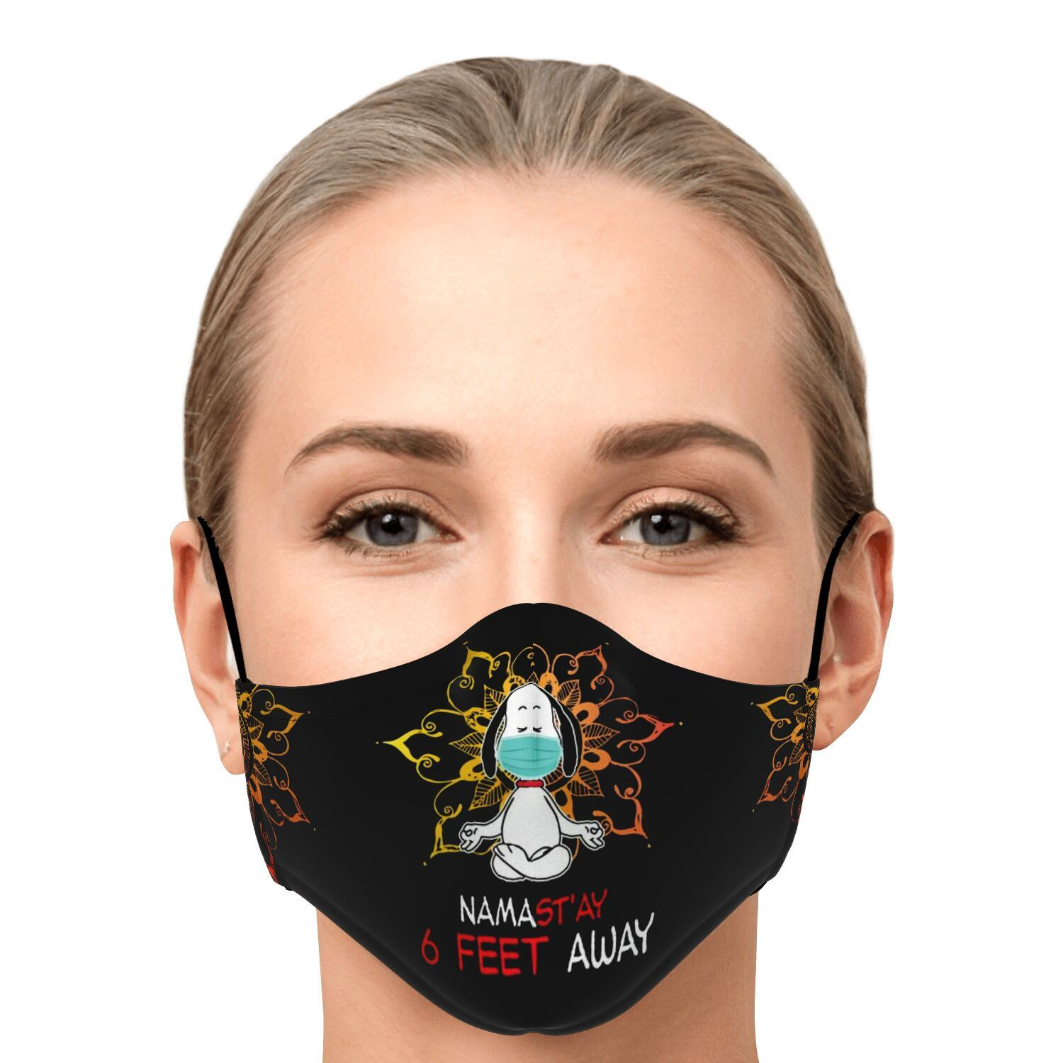 Namast'ay 6 Feet Away Corona Virus Snoopy Face Mask 1