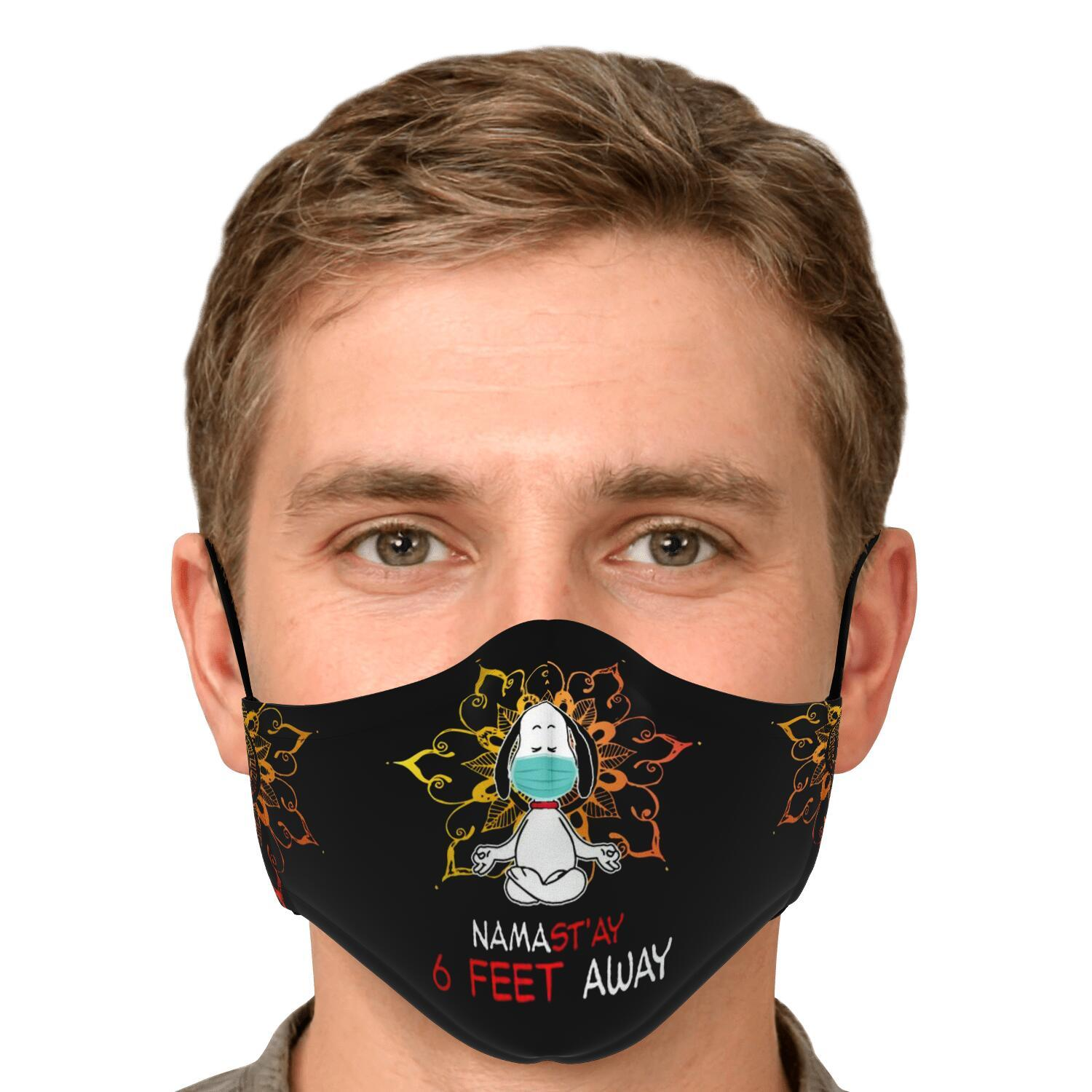 Namast'ay 6 Feet Away Corona Virus Snoopy Face Mask 5