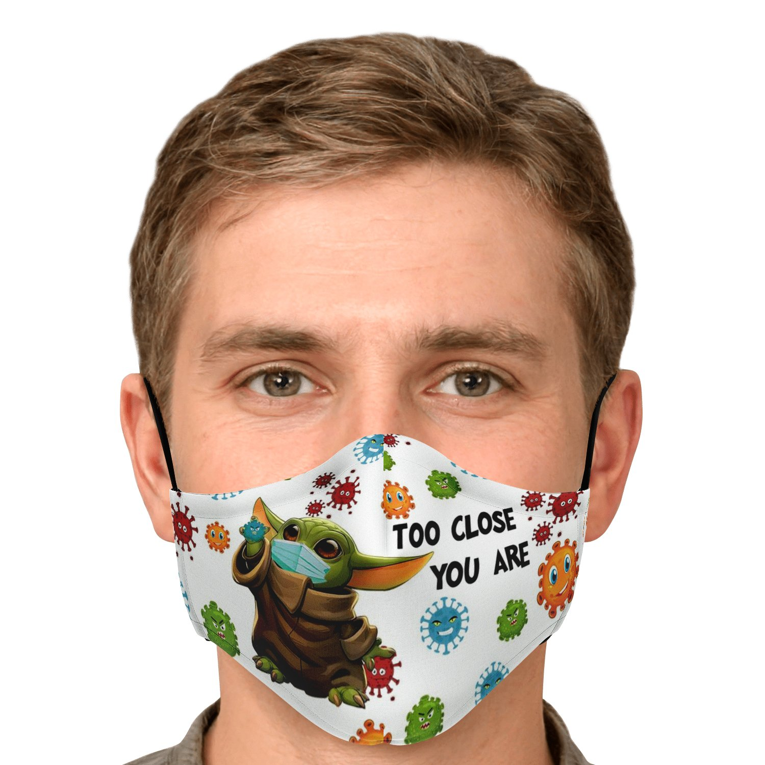 Too Close You Are Stay Away Covid-19 Baby Yoda Face Mask 5