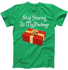 Stop Staring At My Package Christmas Present X-Mas T-Shirt
