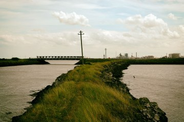 A causeway built of slag