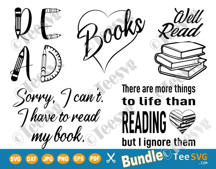 Download Reading SVG Files Bundle Bookish Librarian Teacher Clipart ...