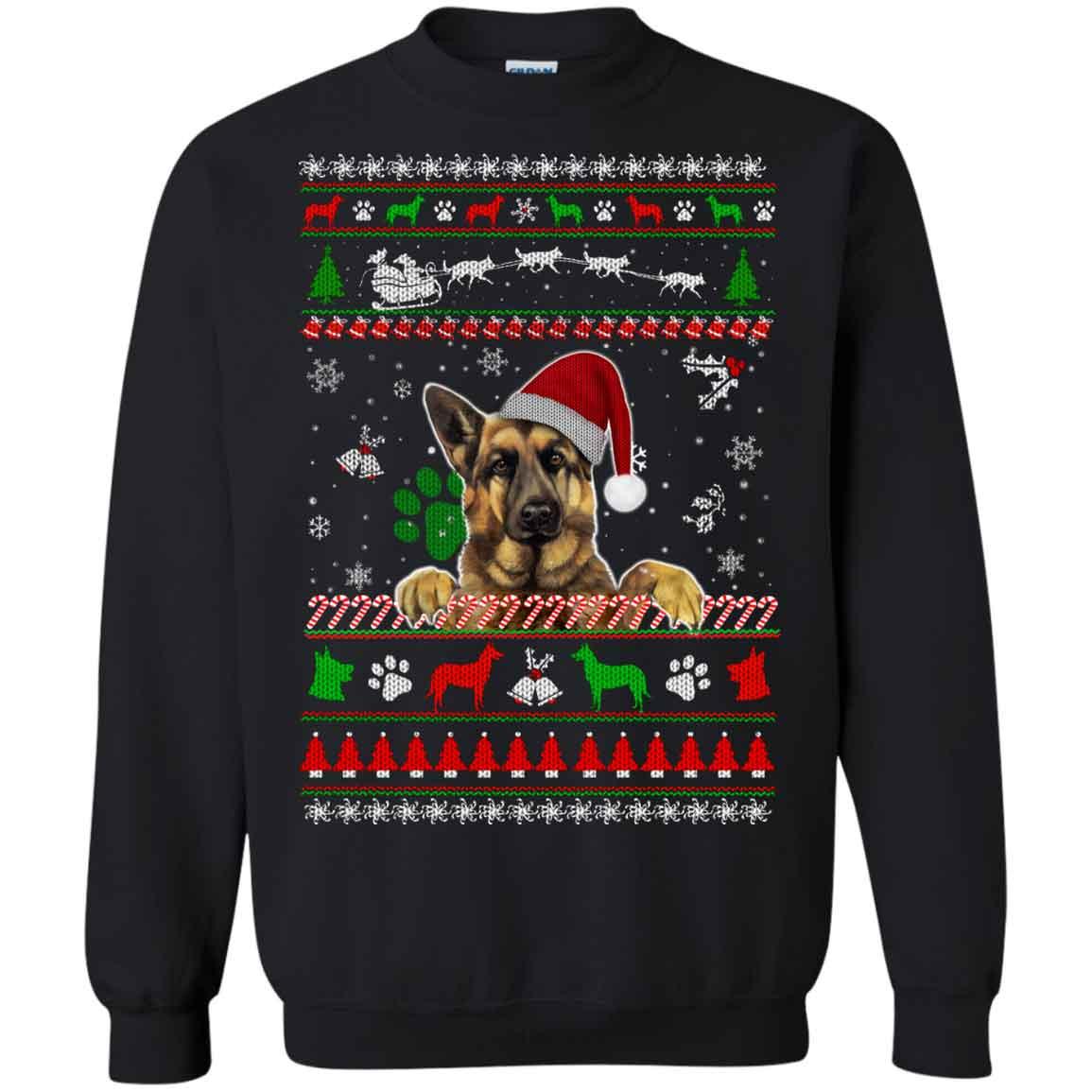 German Shepherd Christmas Sweater.German Shepherd Ugly Christmas Sweater Hoodies Sweatshirts