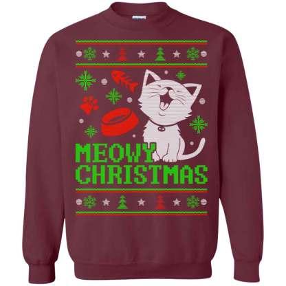 Meowy Christmas Sweater.Cats Ugly Christmas Meowy Christmas Christmas Ugly Sweater Hoodies Sweatshirts