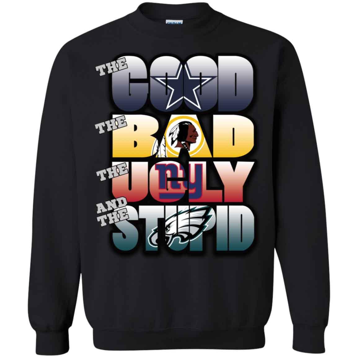 Washington Redskins Philadelphia Eagles Good Bad Ugly Stupid Christmas Ugly Sweater Hoodies Sweatshirts