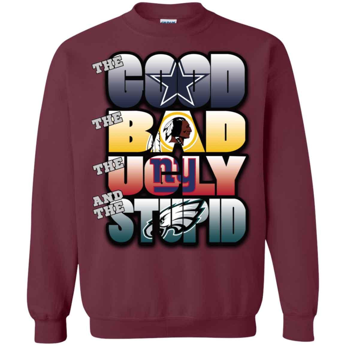 new products 7ad24 4d0d7 Washington Redskins Philadelphia Eagles Good Bad Ugly & Stupid Christmas  Ugly Sweater Hoodies Sweatshirts