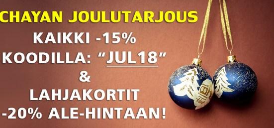 Nyt kaikki tuotteet -15% ALE-hintaan 26.12. saakka & lahjakortit -20% ALE-hintaan. Tilaa ja anna terveellinen ja maukas lahja!