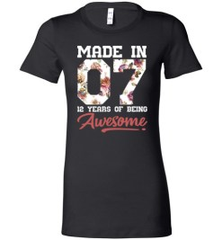 $19.95 – 12 Years Old Birthday Girl Shirts Born in 2007 12th Birthday Lady T-Shirt