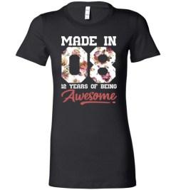 $19.95 – 12 Years Old Birthday Girl Shirts Born in 2008 12th Birthday Lady T-Shirt