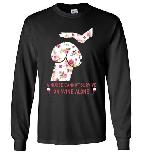 $23.95 – Funny Nurse Wine Shirts: Penis Dog Long Sleeve T-Shirt