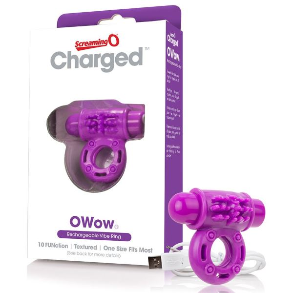 Screaming O Charged OWow Vibrating Cock Ring - Purple
