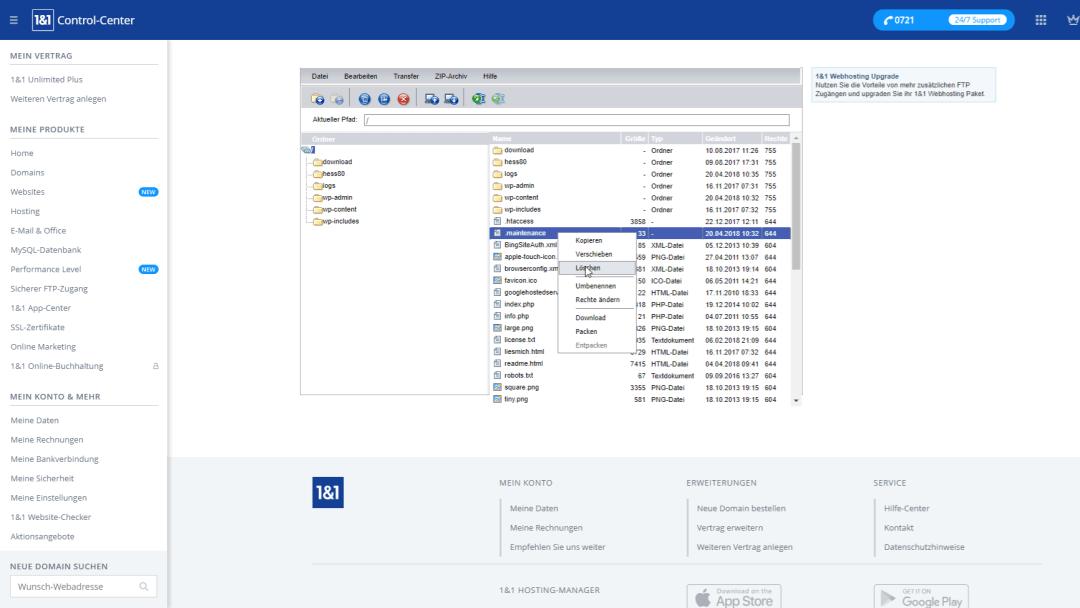 1und1 Webspace Explorerr, Löschen von .maintenance