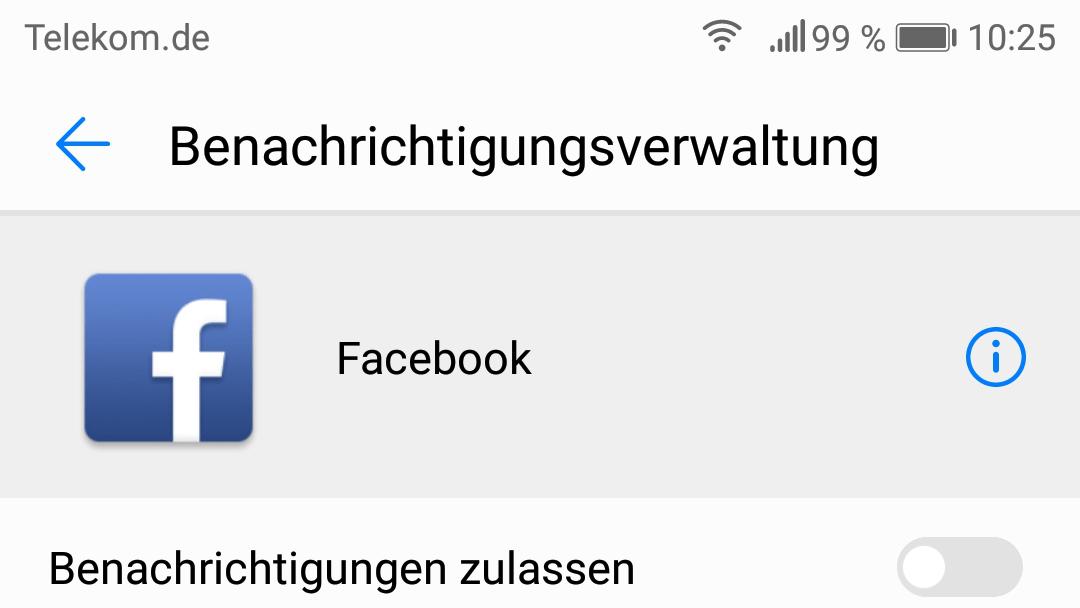 Benachrichtigungsverbot für die Facebook-App
