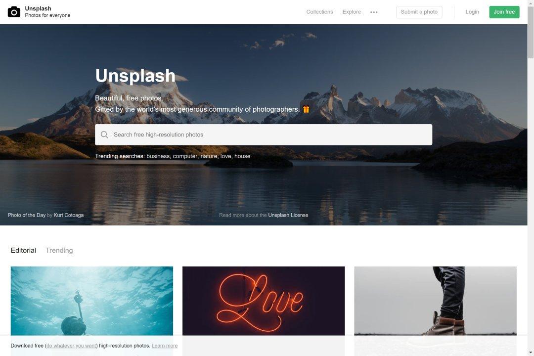 Screenshot der Unsplash-Startseite