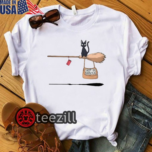 Halloween Black cat on broomstick not in service shirt