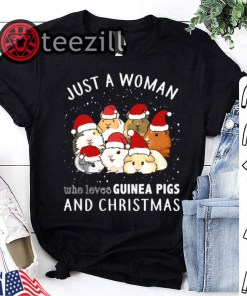 Just A Women's Who Loves Guinea Pigs And Christmas T-Shirt