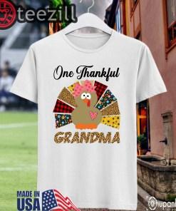 One Thankful Grandma Turkey Leopard Shirt