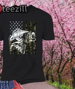 Fishing Camouflage USA Flag for Bass Fisherman Gifts Shirt