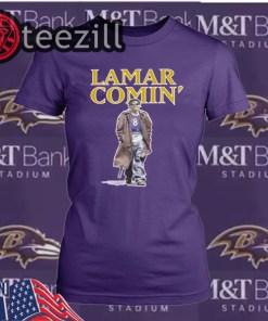 Lamar Comin T-Shirt Lamar Jackson Baltimore Ravens Official