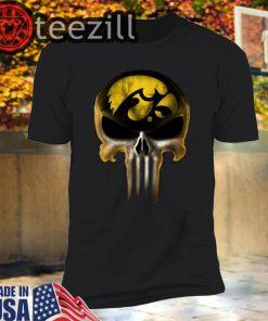 Skull Iowa Hawkeyes The Punisher Mashup NCAA Football Tshirt