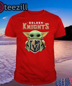 Star Wars Baby Yoda Hug Golden Knights T-Shirt