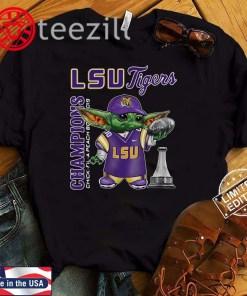 Baby Yoda LSU Tigers Champions Chick-Fil-A Tshirt