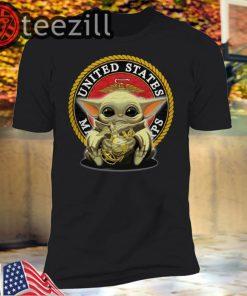 United States Marines Corps Veteran Baby Yoda T-shirt