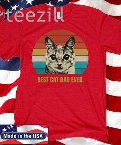 Vintage Best Cat Dad Ever Retro Shirt