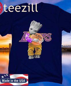 Men's Baby Groot Lakers Hug Kobe Bryant Basketball Signature Shirts