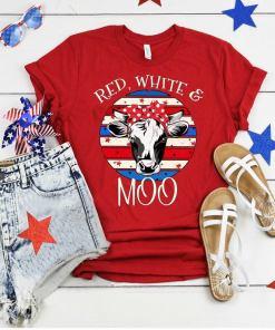 4th July Shirt, American Flag, Heifer shirt, USA Flag, Patritioc Cow shirt, Cow with bandana, Cow Lovers shirt, Red White and Moo, Funny Cow