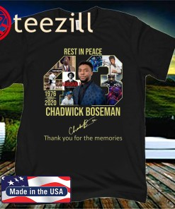 Rest in peace 43 chadwick boseman thank you for the memories tee shirt