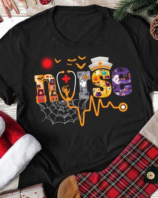 Nurse With Pumpkin Boo Spider Witch Halloween 2020 Shirt