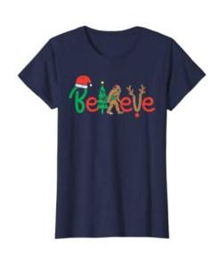 Believe Bigfoot Sasquatch In Mask Christmas Quarantine Shirt