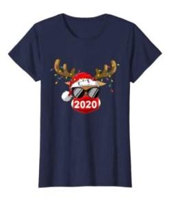 Reindeer With Face Mask Christmas 2020 Family Pajamas Xmas Navy Hoodies Shirt
